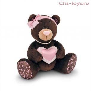 Медведь Milk сидячая с розовым сердечком 20 см, арт. М008/20