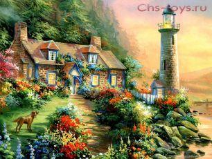 Картина по номерам Живописный сад у моря RSL008