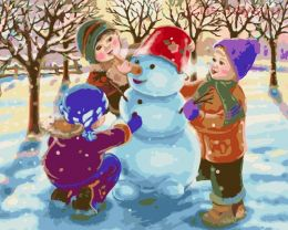 Картина по номерам Дети и снеговик E536
