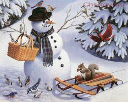 Картина по номерам Снеговик в лесу E537