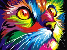 Картина по номерам Красочный кот E493