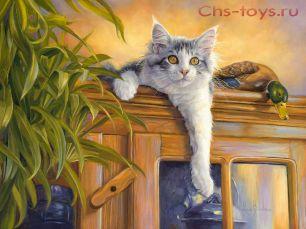 Картина по номерам Кот и утки E403
